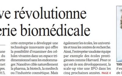 Nanolive featured in the newest issue of Agefi economic and finance newspaper