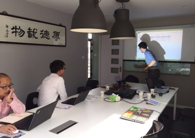 Luca leading the workshop for our Chinese distributor